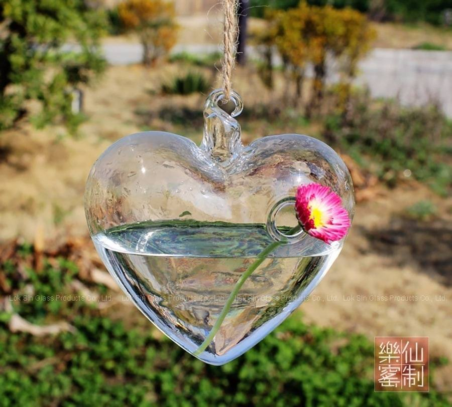 Heart Hanging Glass Vase Plant Container