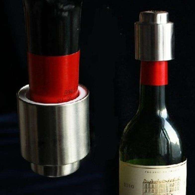 1 PCS Hot Sale Stainless Steel Vacuum Sealed Red Wine Bottle Spout Liquor Flow Stopper Pour Cap Silver-2