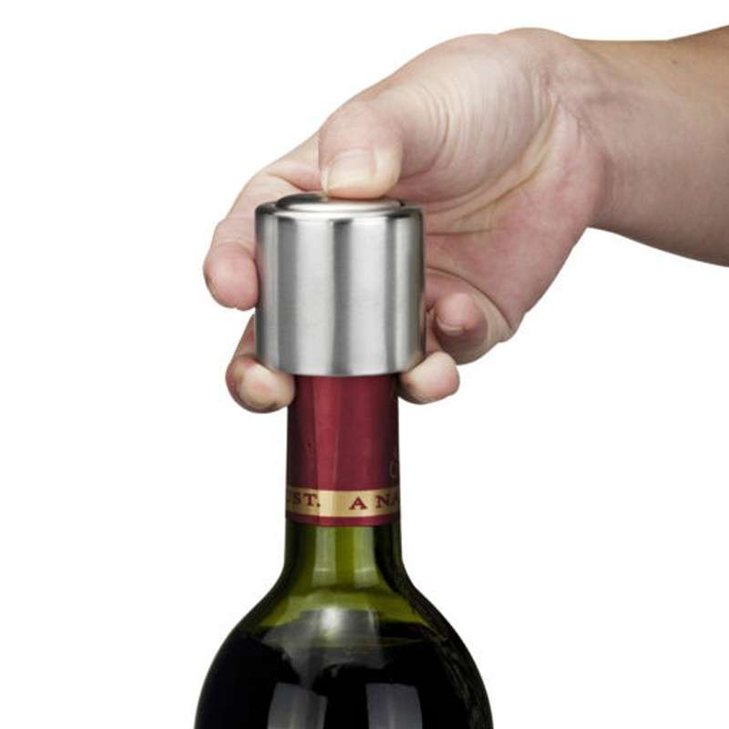 1 PCS Hot Sale Stainless Steel Vacuum Sealed Red Wine Bottle Spout Liquor Flow Stopper Pour Cap Silver-5