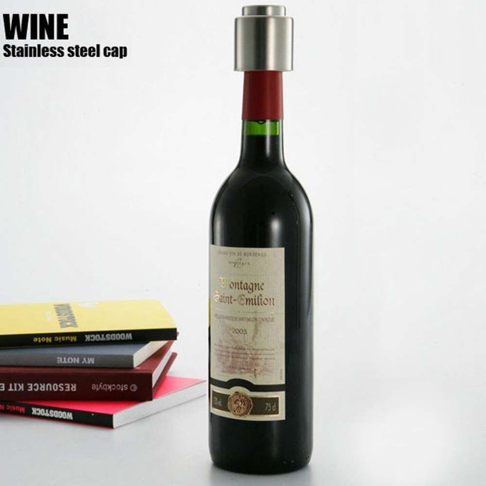 1 PCS Hot Sale Stainless Steel Vacuum Sealed Red Wine Bottle Spout Liquor Flow Stopper Pour Cap Silver-7