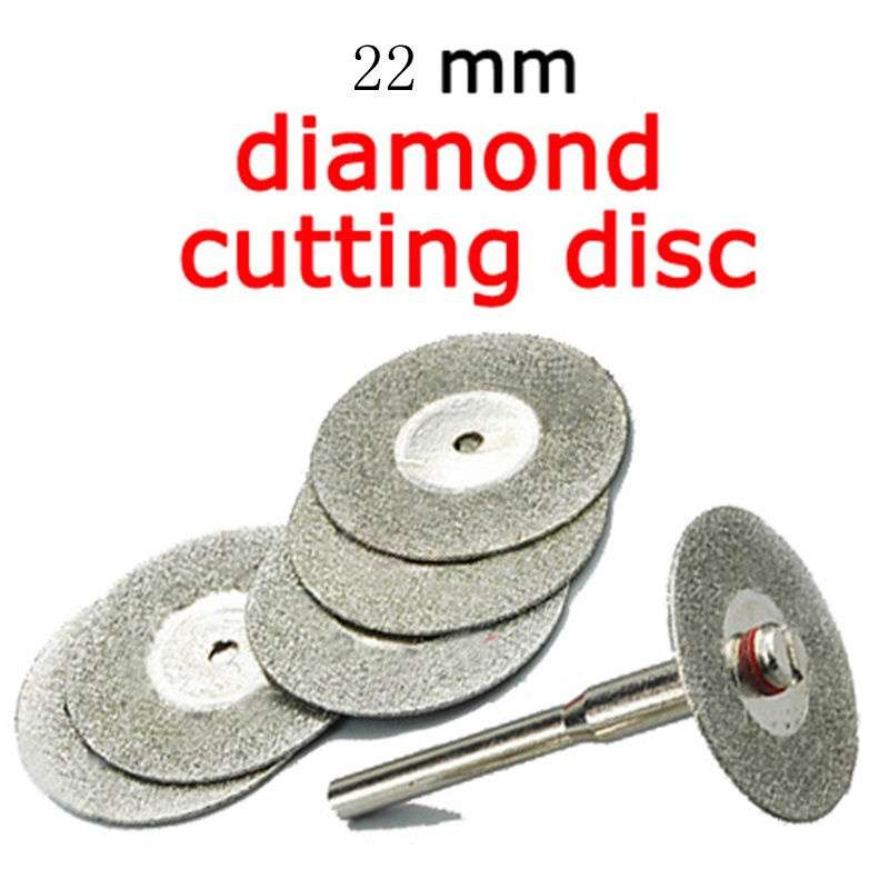 2016 5PCS 22mm Emery Diamond cutting blades Drill Bit+1 Mandrel for Dremel