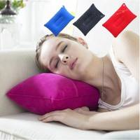 HvMP-Portable Pillow Inflatable Flocked Flock Pillow Travel Cushion Camping Home Air Bed