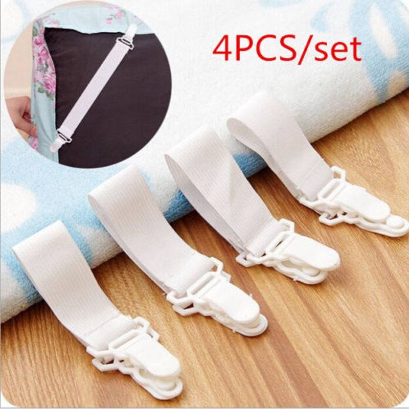 Hot!4 x Bed Sheet Mattress Cover Blankets Grippers Clip Holder Fasteners