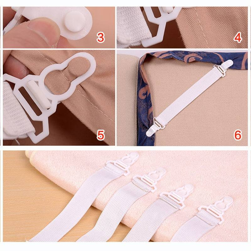 Hot!4 x Bed Sheet Mattress Cover Blankets Grippers Clip Holder Fasteners-1
