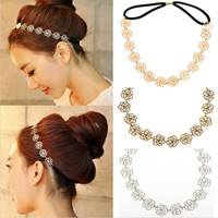 J2yO-1PC Metal Chain Jewelry Hollow Rose Flower Elastic Hair Band Headband
