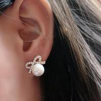 J4Qj-Exquisite&Small Full Crystal Shining Bow Knot Cream Pearl Stud Earrings