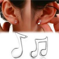 J4gG-Cute 925 Sterling Silver Asymmetry Musical Note Shape Ear Stud Earrings Artistic