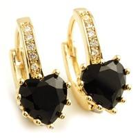 J6wN-Wonderful Gift Yellow Gold Plated Hoop Earrings With Black Heart Cubic Zircon