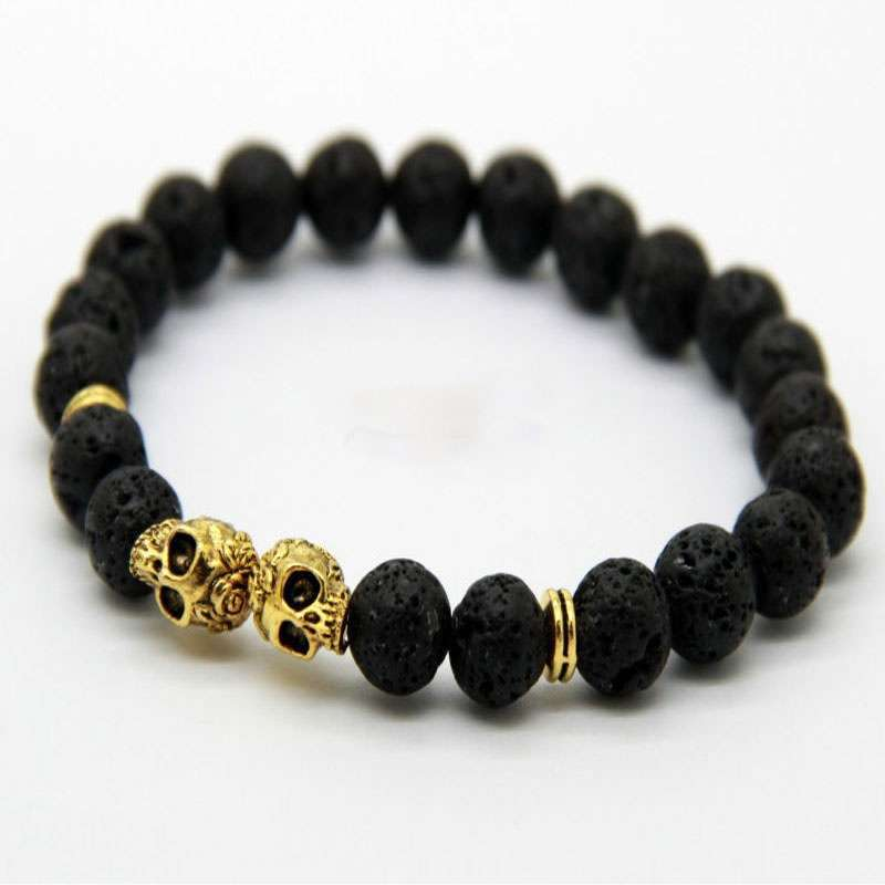QI New Products Retail Christmas Elegant Gift 8MM Lava Stone Beads Black Gold & Silver Skull cool party Yoga Bracelets Party Gift FB323-1