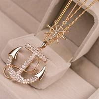 JCWC-Crystal Anchor Pendant Necklace Color White Navy Style Anchor Rudder Personality Long Necklace Jewelry