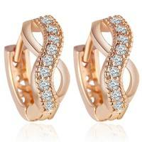 JCtL-Fashion Elegant Zircon Crystal Gold Earring Classics Charm Infinity Love Sweet Beauty Luxury Jewelry