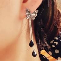 JEqI-Charm Tassel Earnings Butterfly Drop Earnings Water Drop Pendant Dangle Earrings