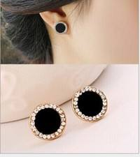 JFCZ-Elegant Stainless Steel Statement Crystal Stud Earrings For Women