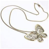 JG7u-Long Chain Carved Butterfly Pendant Sweater Necklace Hot For Cute Ladies