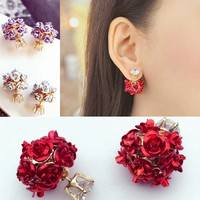 JGUe-Fashion Women Girls Elegant Rose Flower Crystal Rhinestone Stud Earring Jewelry