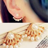 JGXn-Small Imitation Pearl Stud Earrings Paw Shape Ear Cuff Ear Stud Jewelry Gift For Women