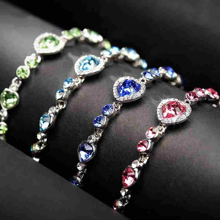 Heart type 5 color crystal inlaid women silver bracelets
