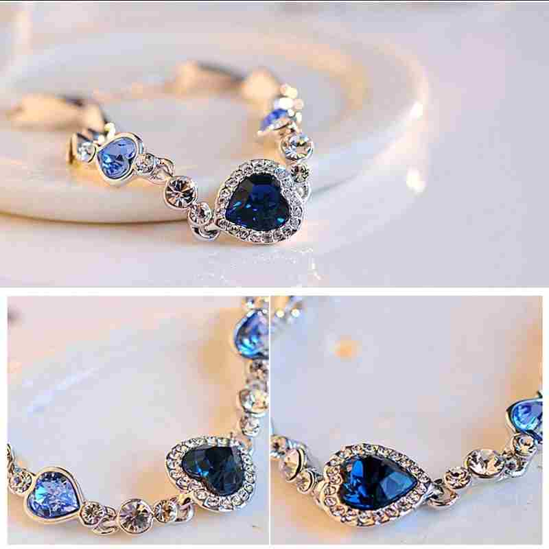 Heart type 5 color crystal inlaid women silver bracelets-16