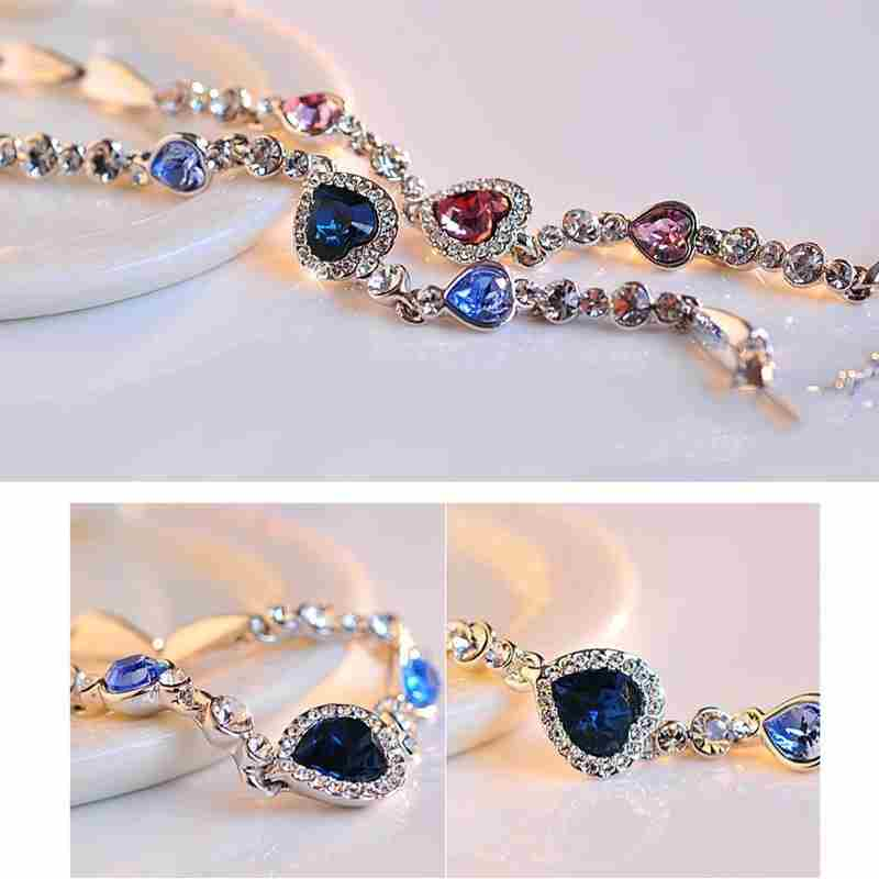 Heart type 5 color crystal inlaid women silver bracelets-17