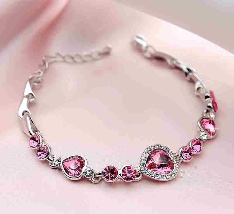 Heart type 5 color crystal inlaid women silver bracelets-19