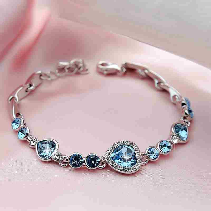 Heart type 5 color crystal inlaid women silver bracelets-20