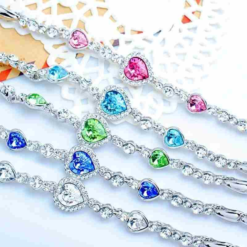 Heart type 5 color crystal inlaid women silver bracelets-23