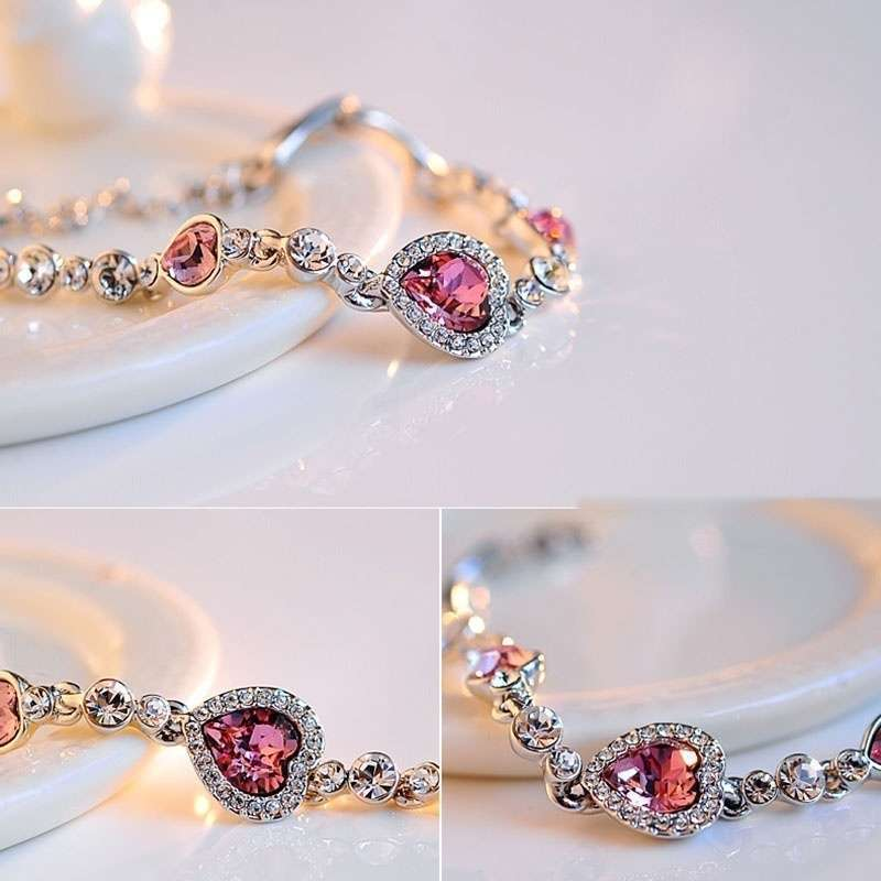 Heart type 5 color crystal inlaid women silver bracelets-25