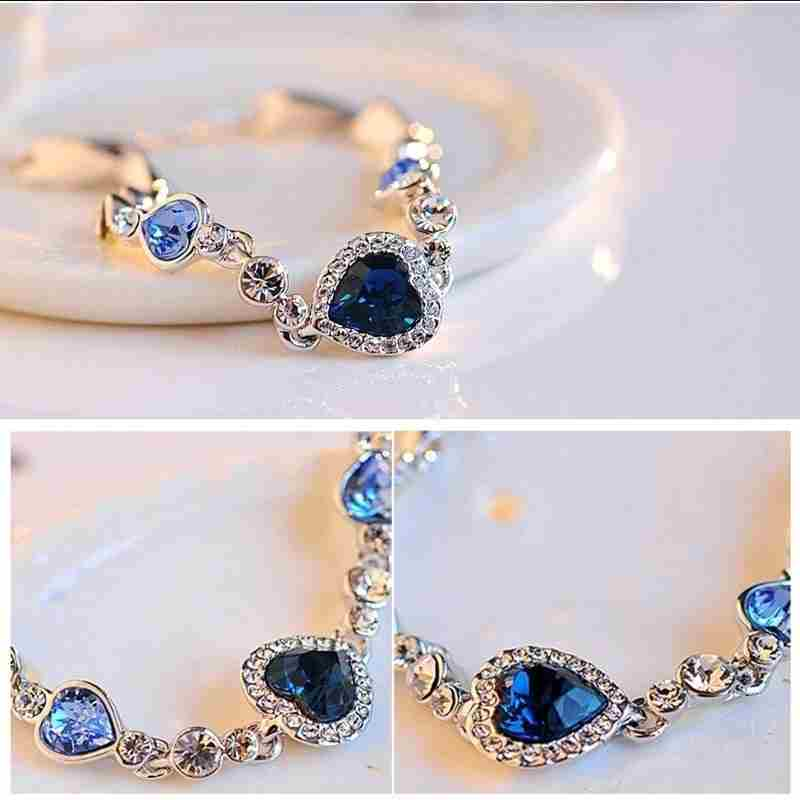 Heart type 5 color crystal inlaid women silver bracelets-4
