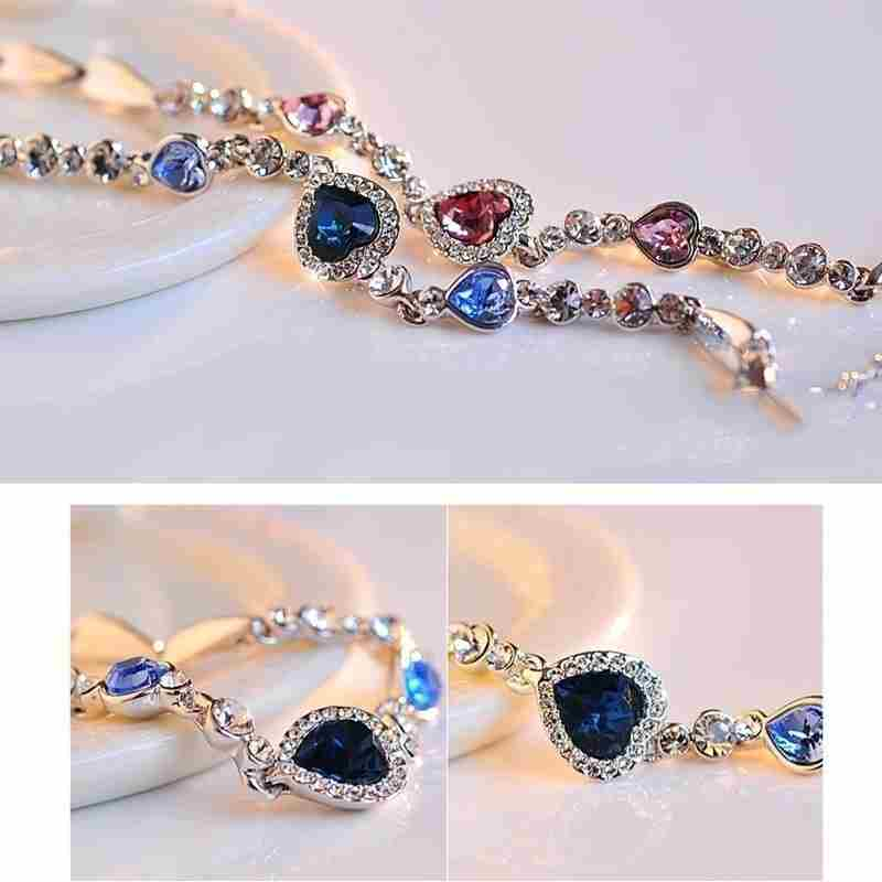 Heart type 5 color crystal inlaid women silver bracelets-5