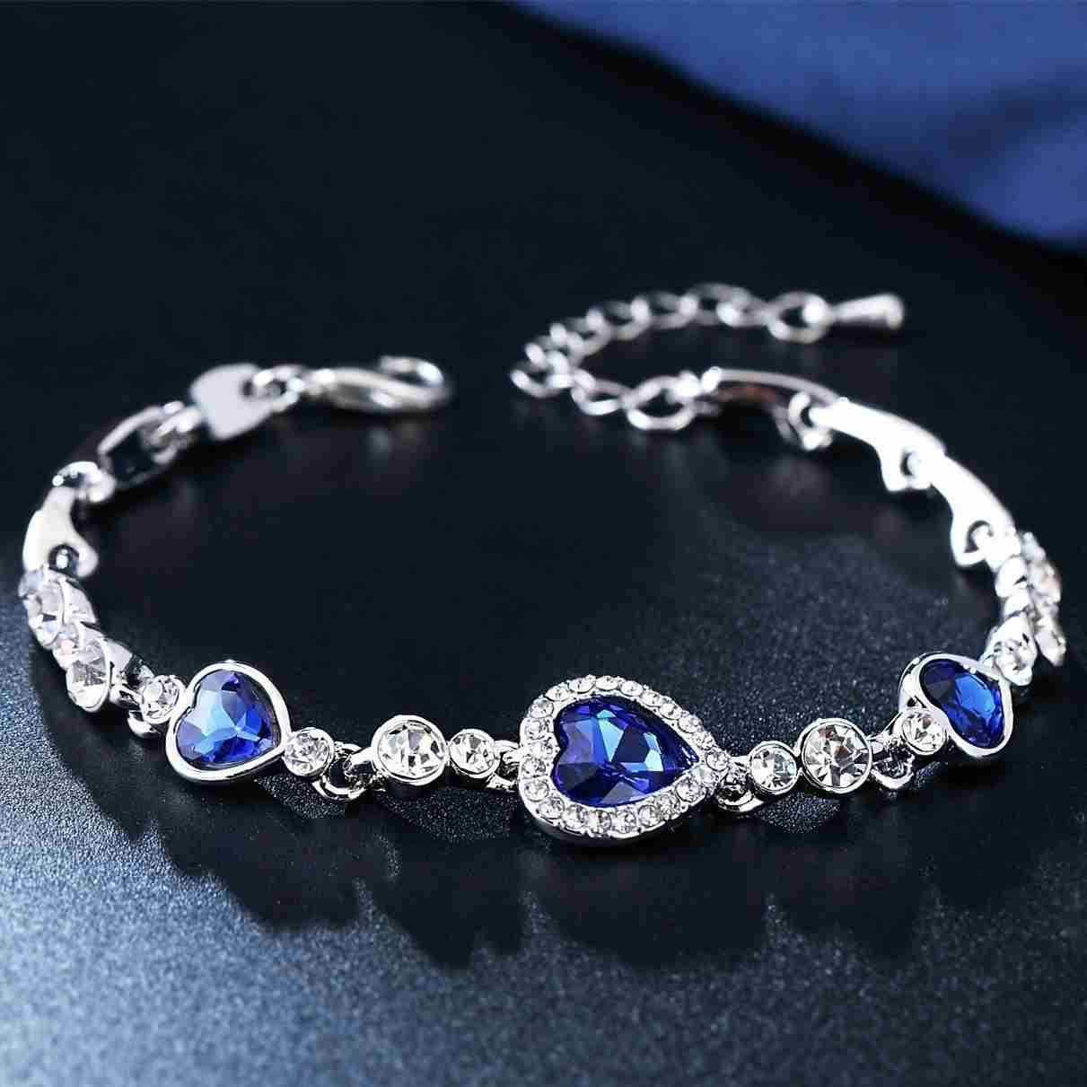 Heart type 5 color crystal inlaid women silver bracelets-7