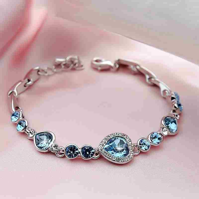 Heart type 5 color crystal inlaid women silver bracelets-8