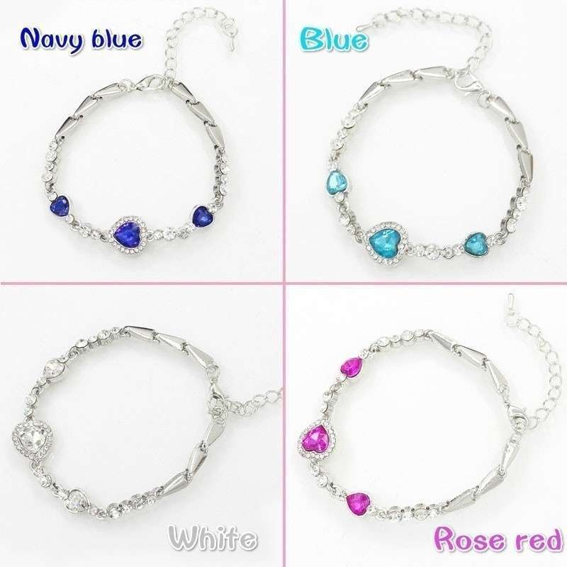 Heart type 5 color crystal inlaid women silver bracelets-9