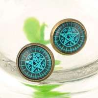 JIzv-Black Butler Earrings Cute Anime Cosplay Kuroshitsuji Anime Stud Earrings (Size: 10 Mm, Color: Blue)