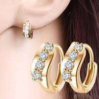 JJ7f-18K Gold Filled Cubic Zircon Hoop Earring Gorgeou