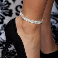 JKK3-Three Row Rhinestone Tennis Ankle Bracelet