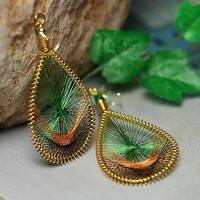 JKt9-Chic Fashion Elegant Cute Peacock Tail Wire Gold Thread Ear Stud Earrings Jewelry