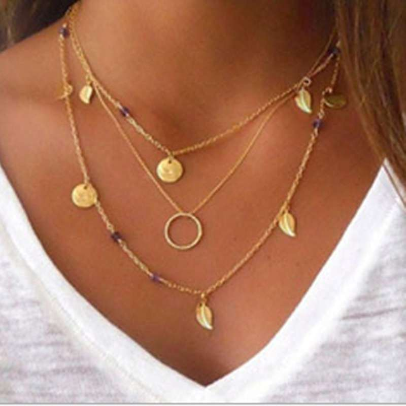 Fashion simple metal ring leaves crystal Multi layer Necklace Gold