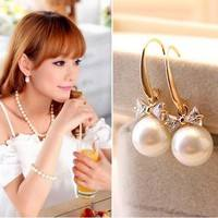 JMbQ-1Pair Bow Knot Faux Pearl Dangle Earrings