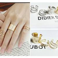 JMsT-3Pcs/Set Gold Silver Plated Shiny Fashion Band Midi Finger Knuckle Stack Rings