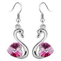 JNTr-Crystal Swan Drop Hook Earrings Jewelry For Birthdays  Christmas  Wedding