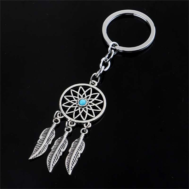 New Silver Metal Key Chain Ring Feather Tassels Dream Catcher Keyring Keychain WIS-long