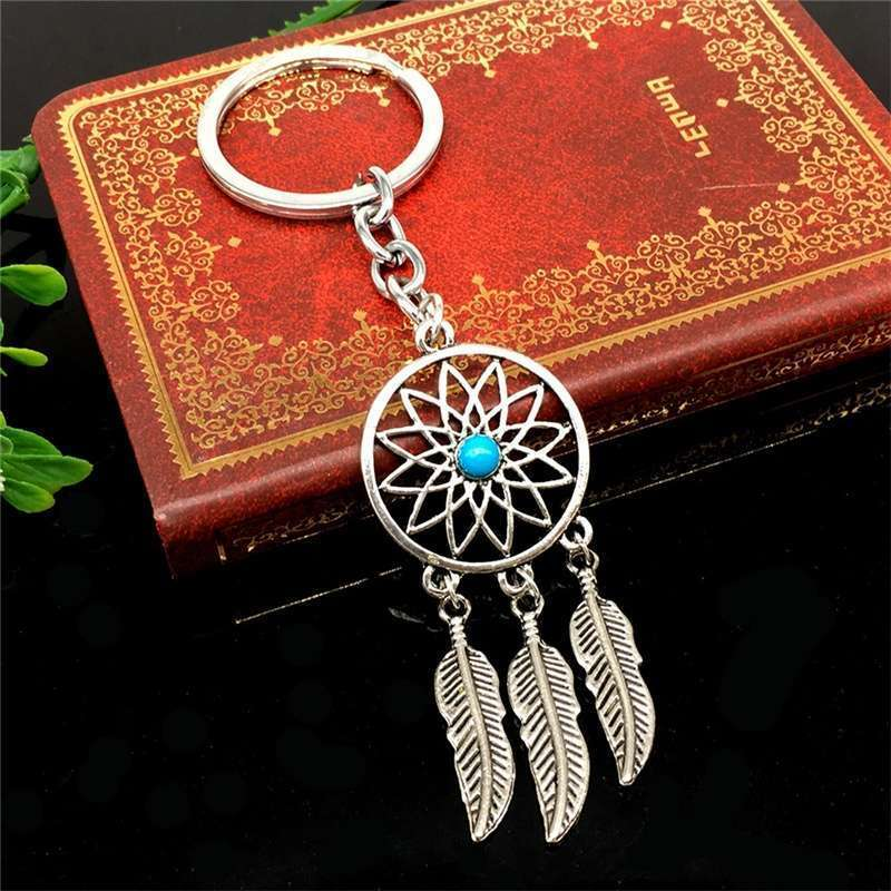 New Silver Metal Key Chain Ring Feather Tassels Dream Catcher Keyring Keychain WIS-long-1
