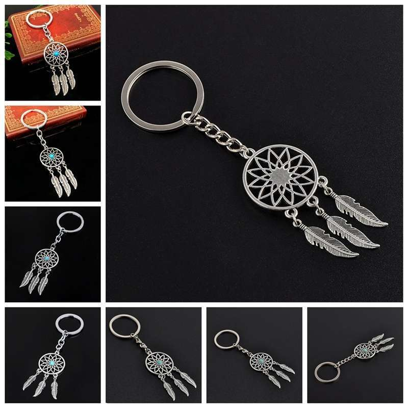New Silver Metal Key Chain Ring Feather Tassels Dream Catcher Keyring Keychain WIS-long-10