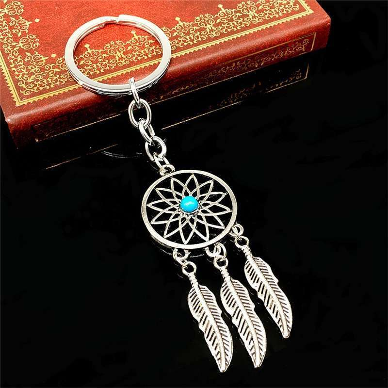 New Silver Metal Key Chain Ring Feather Tassels Dream Catcher Keyring Keychain WIS-long-2