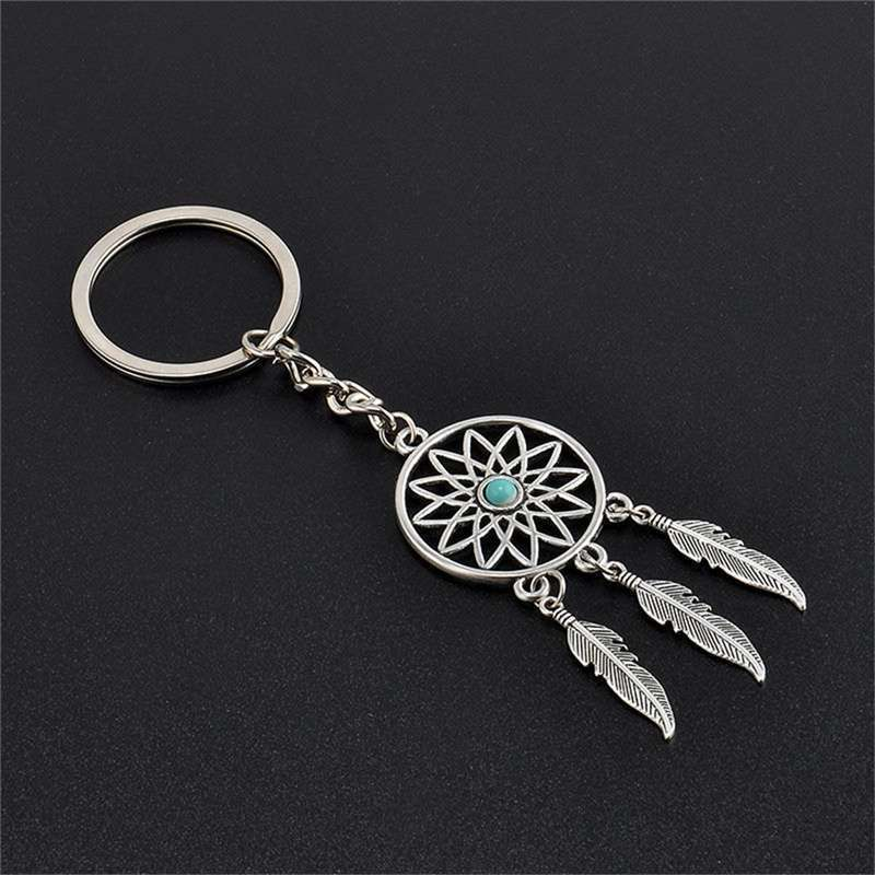 New Silver Metal Key Chain Ring Feather Tassels Dream Catcher Keyring Keychain WIS-long-3