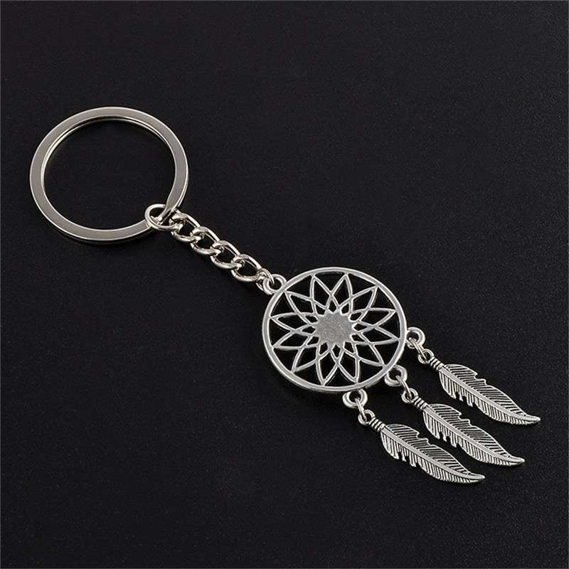 New Silver Metal Key Chain Ring Feather Tassels Dream Catcher Keyring Keychain WIS-long-4
