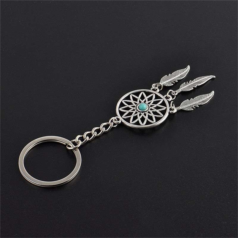 New Silver Metal Key Chain Ring Feather Tassels Dream Catcher Keyring Keychain WIS-long-5