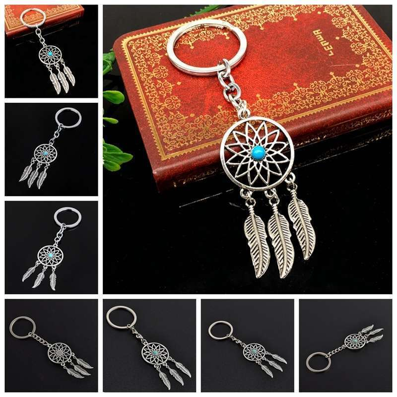 New Silver Metal Key Chain Ring Feather Tassels Dream Catcher Keyring Keychain WIS-long-6