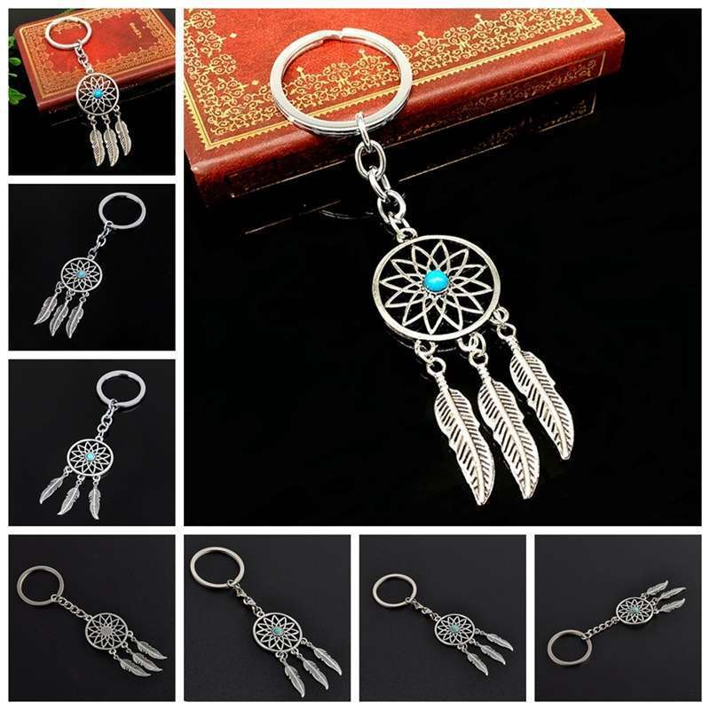 New Silver Metal Key Chain Ring Feather Tassels Dream Catcher Keyring Keychain WIS-long-7