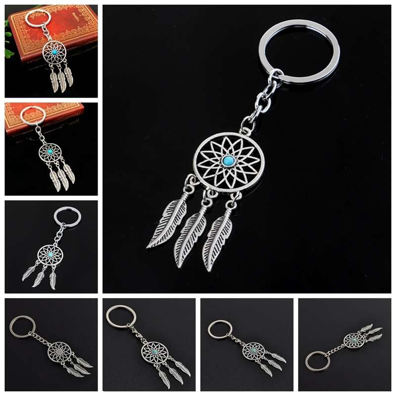 New Silver Metal Key Chain Ring Feather Tassels Dream Catcher Keyring Keychain WIS-long-8